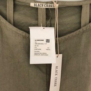 Black Crane Dresses - Black Crane Geometric Linen Dress La Garconne Sz M